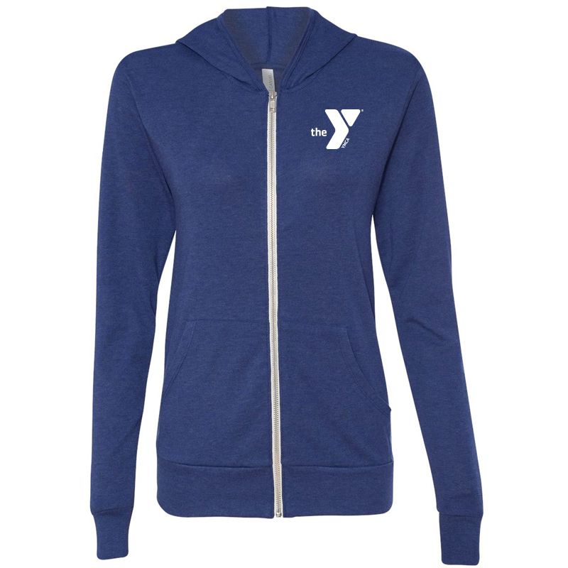 Y Unisex Triblend Lightweight Full-Zip Hooded Long Sleeve Tee - Navy