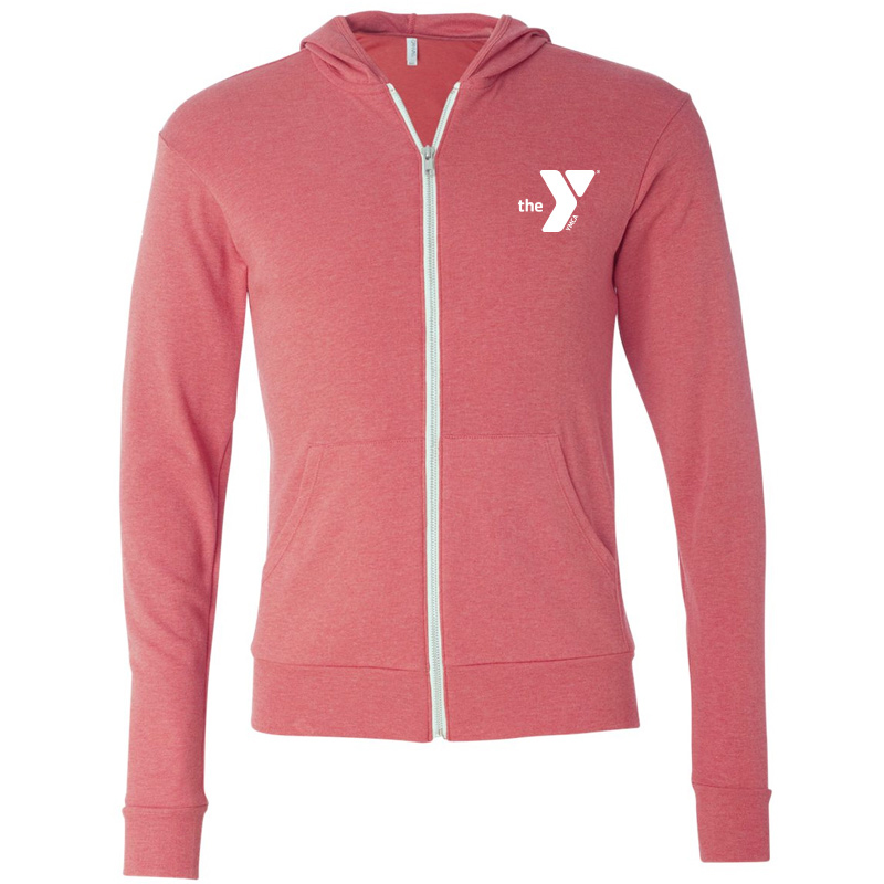 Y Unisex Triblend Lightweight Full-Zip Hooded Long Sleeve Tee - Red