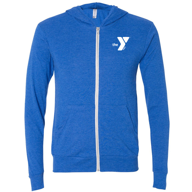 Y Unisex Triblend Lightweight Full-Zip Hooded Long Sleeve Tee - Royal