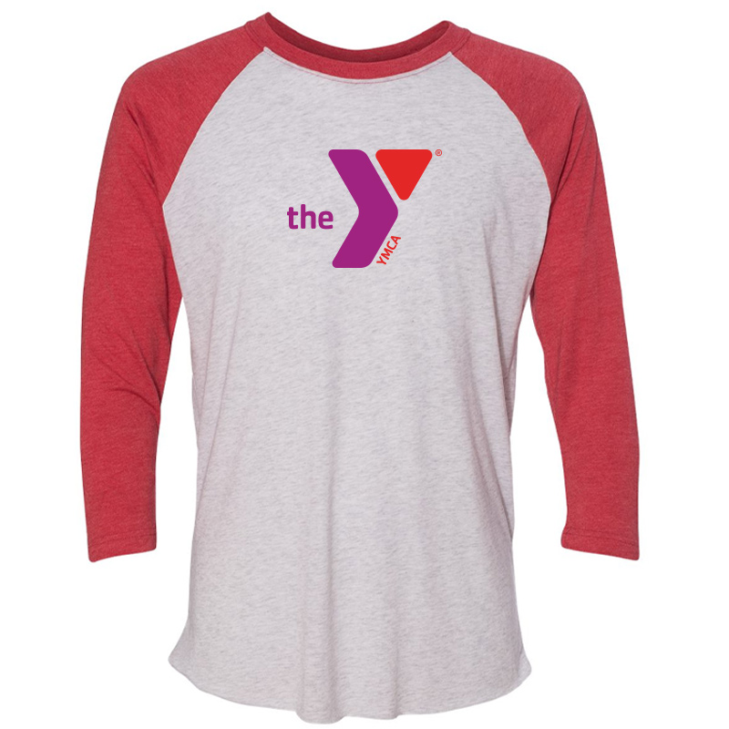 Y Unisex Triblend Three-Quarter Sleeve Raglan - Red White