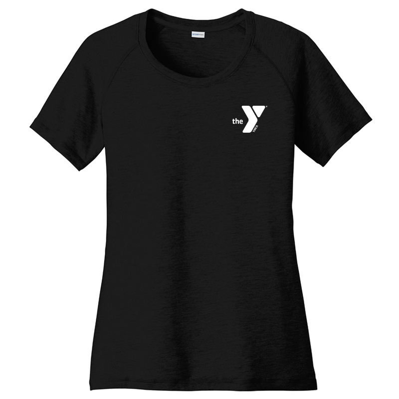 Y Ladies  Tri-Blend Wicking Scoop Neck Raglan Tee - Black