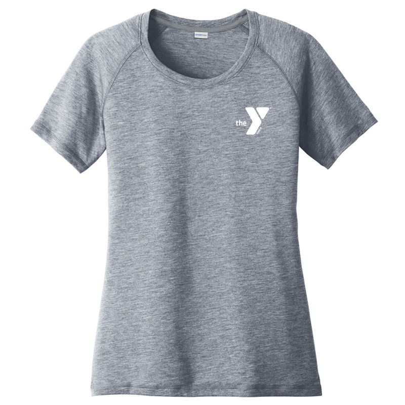 Y Ladies  Tri-Blend Wicking Scoop Neck Raglan Tee - Navy