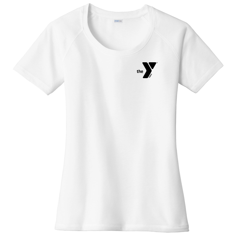 Y Ladies  Tri-Blend Wicking Scoop Neck Raglan Tee - White