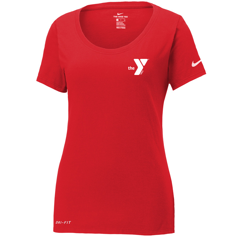 Y Nike Ladies Dri-FIT Cotton/Poly Scoop Neck Tee - Red