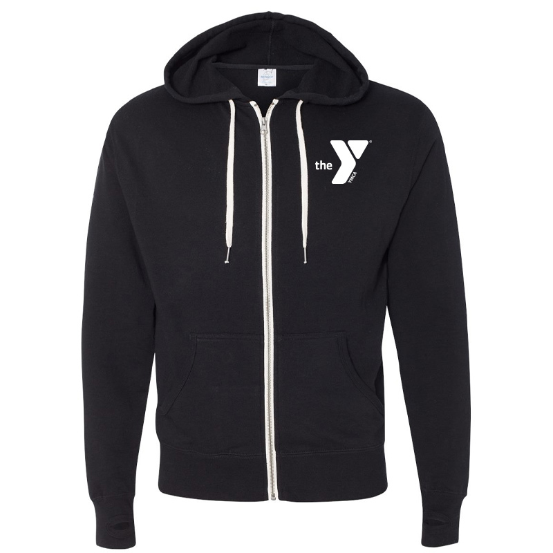 Y Unisex Heathered French Terry Full-Zip Hooded Sweatshirt - Black