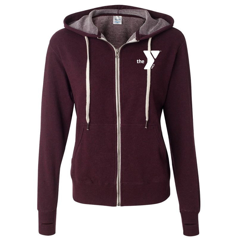 Y Unisex Heathered French Terry Full-Zip Hooded Sweatshirt - Burgundy