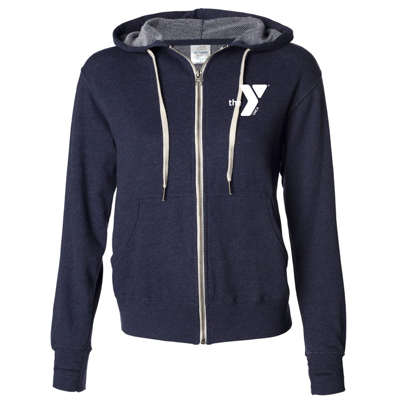 Y Unisex Heathered French Terry Full-Zip Hooded Sweatshirt - Navy