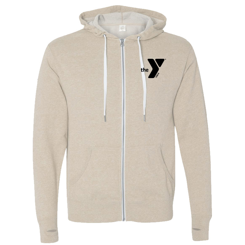Y Unisex Heathered French Terry Full-Zip Hooded Sweatshirt - Oatmeal