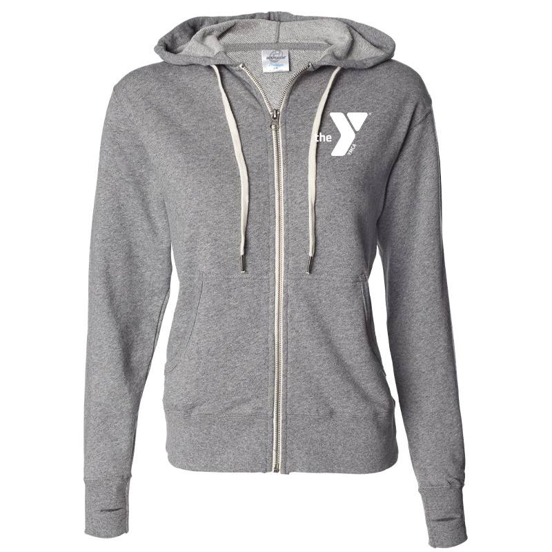 Y Unisex Heathered French Terry Full-Zip Hooded Sweatshirt - Saltpepper
