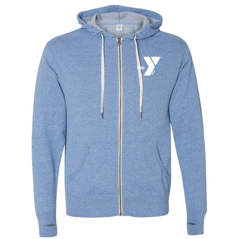 Y Unisex Heathered French Terry Full-Zip Hooded Sweatshirt - Skyheather
