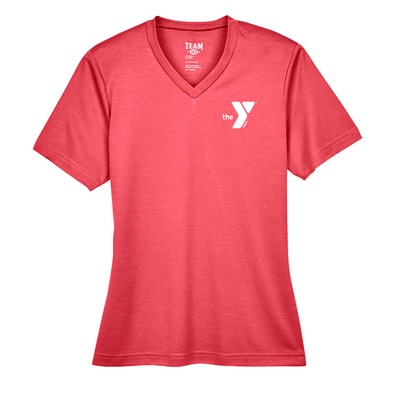 Y Ladies Sonic Heather Performance T-Shirt - Red